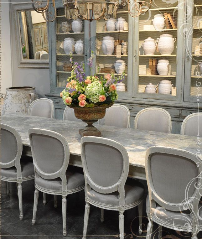 Gray And French Chairs Dining Room