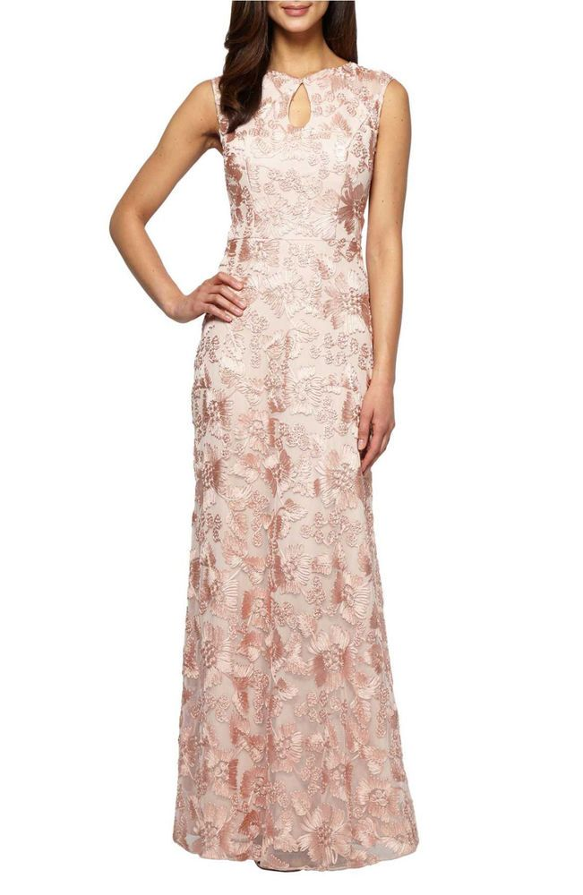 Alex Evenings Embroidered Capsleeve Formal Gown Peach Petite Size