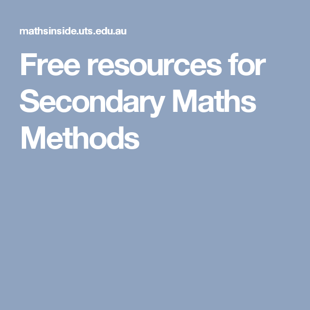 Free resources for Secondary Maths Methods | School: Math Resources ...