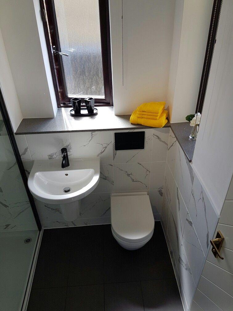 Wall Hung Toilet And Basin With Matt Black Tapware And Quartz Countertop Wall Hung Toilet Small Toilet Bathroom Cladding