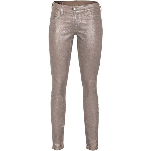 True Religion Halle Metallic Spray Pewter Coated Skinny Jeans ($390) ❤ liked on Polyvore