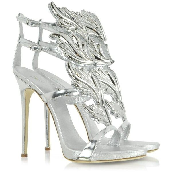 9bb5f01bf8392 Giuseppe Zanotti Shoes Silver Metallic Leather Sandal ($1,315) ❤ liked on  Polyvore featuring shoes, sandals, heels, special occasion shoes, strap  sandals, ...