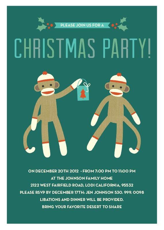Sock Monkey Fun Holiday Party Invitations By Elli Fun Holiday Party Sock Monkey Party Car Birthday Party Invitations