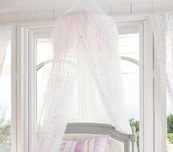 Mermaid Sequin Canopy Girls Bedroom Makeover Baby Crib