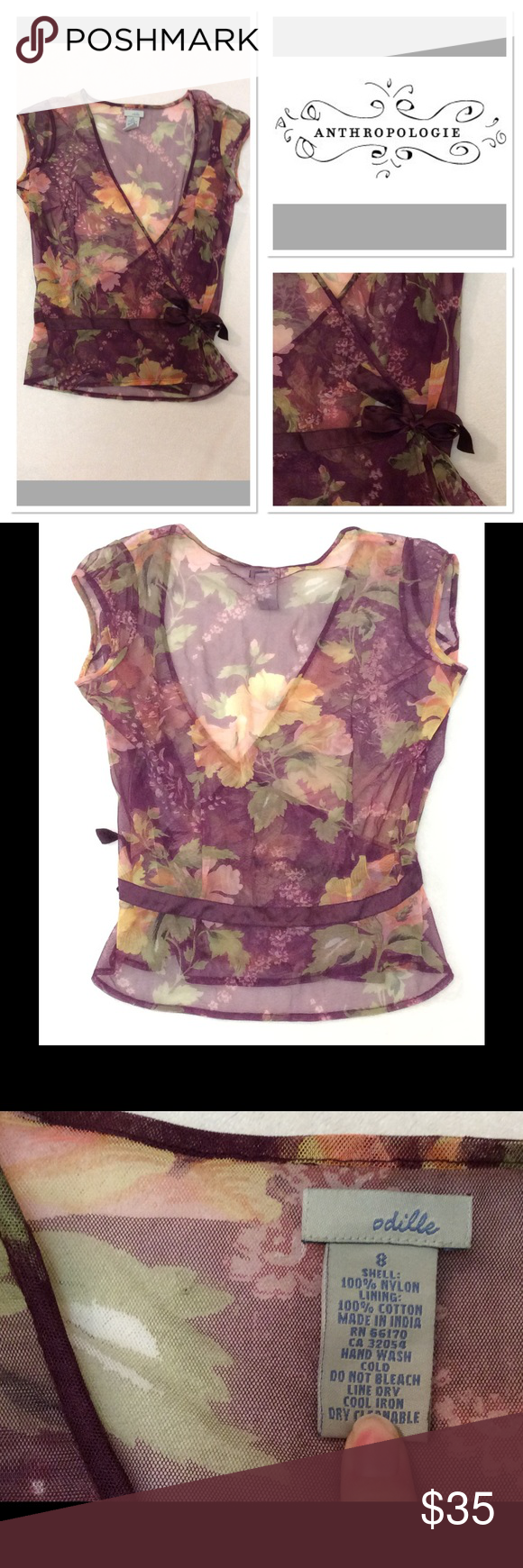 """8 ANTHROPOLOGIE ODILLE Sheer floral wrap top Brand: Odille (Anthropologie) Style: Sheer Wrap Top Size: 8 Measurements: Pit to Pit 19.5"""" , shoulder to hem 21.5"""" Material:  100% Nylon  Features: Floral pattern, Silky waist tie Condition: Excellent Anthropologie Tops"""