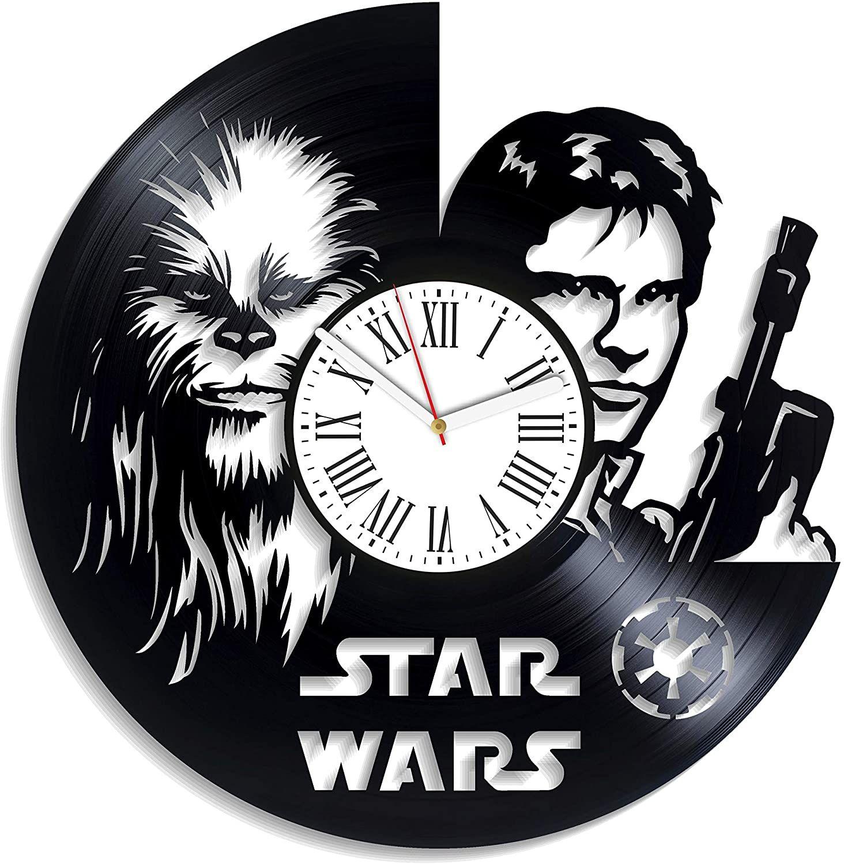 Kovides Chewbacca And Han Solo Art Star Wars Movie Handmade Decor For Nursery Jedi Wall Decor Vintage Vinyl R Vinyl Record Clock Han Solo Art Record Clock
