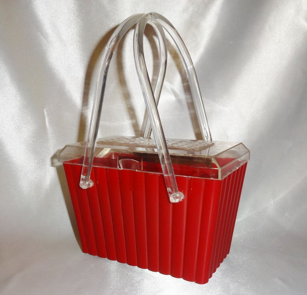 Vintage 1950 S Fire Engine Red Plastic Purse With Clear Fl Lid Vault Exclusive To Ruby