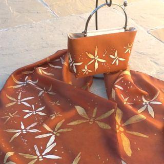 Hand painted silk scarf and matching bag Www.talentosilkandpaperart.co.uk