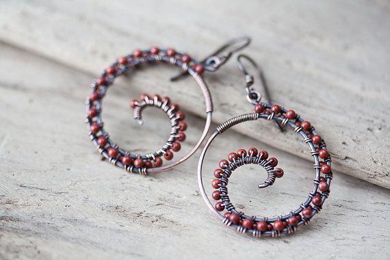 Dark brown red jasper earrings Oxidized copper by CookOnStrike, $32.00