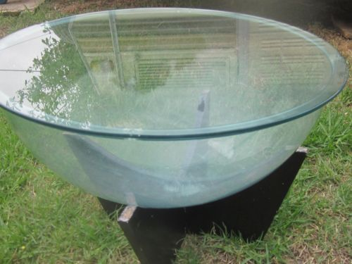 vintage timber and glass round coffee table, terrarium or fish