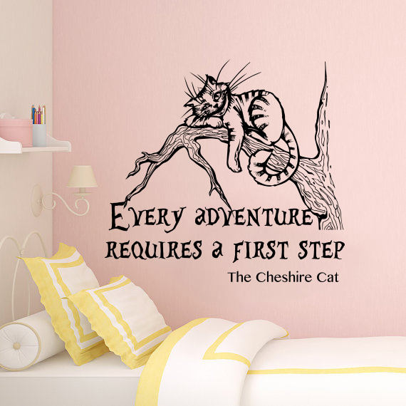 Cheshire Cat Wall Decal Alice In Wonderland Wall Decal Quote