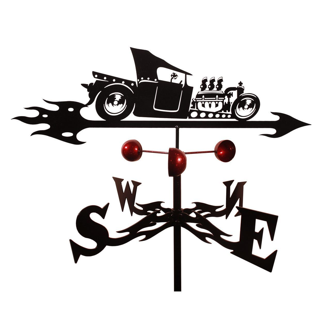 T Bucket Rat Rod Weathervane Roof Mount Black Steel
