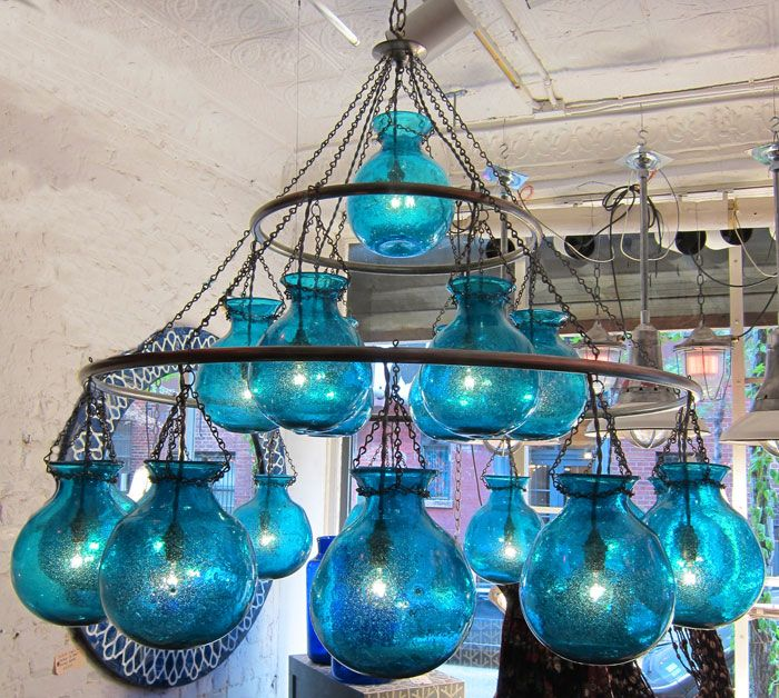 Egyptian handblown chandelier with large nile blue glass globes egyptian handblown chandelier with large nile blue glass globes aloadofball Images