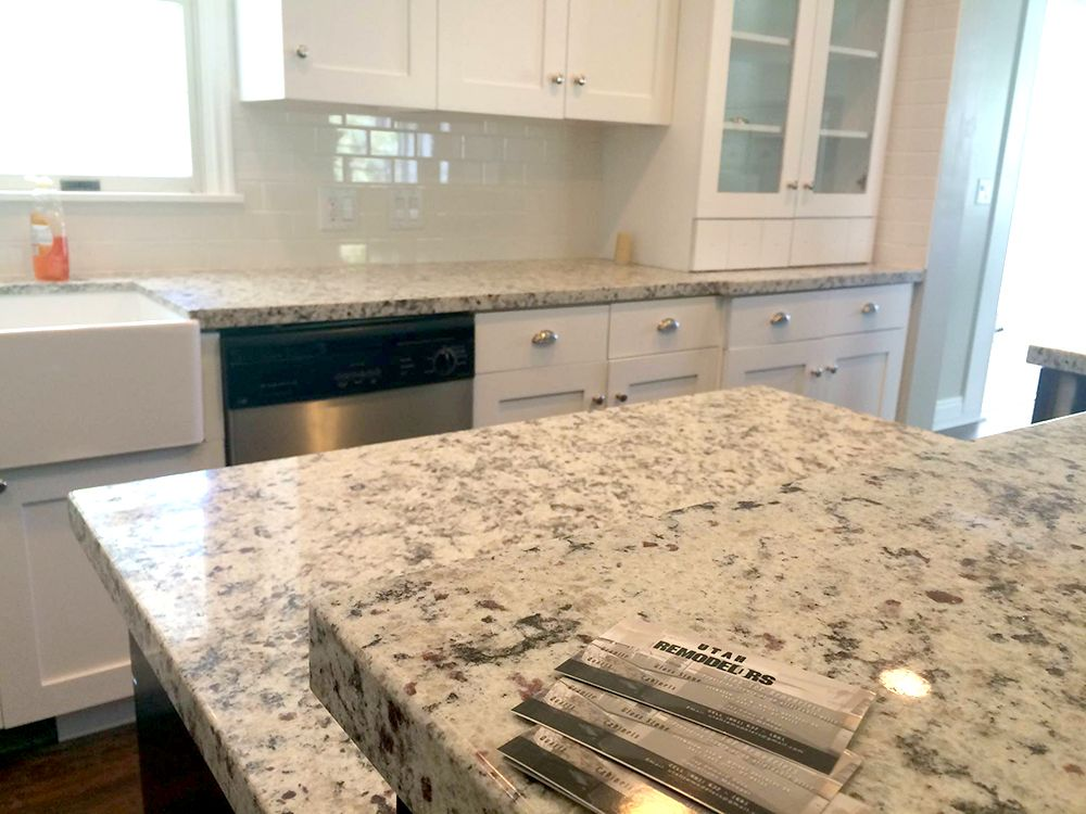 4cm white ornamental granite with subway tile backsplash