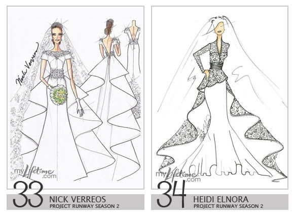 Royalty Wedding Dress Design Sketches   Nick Verreos U0026 Heidi Elnora