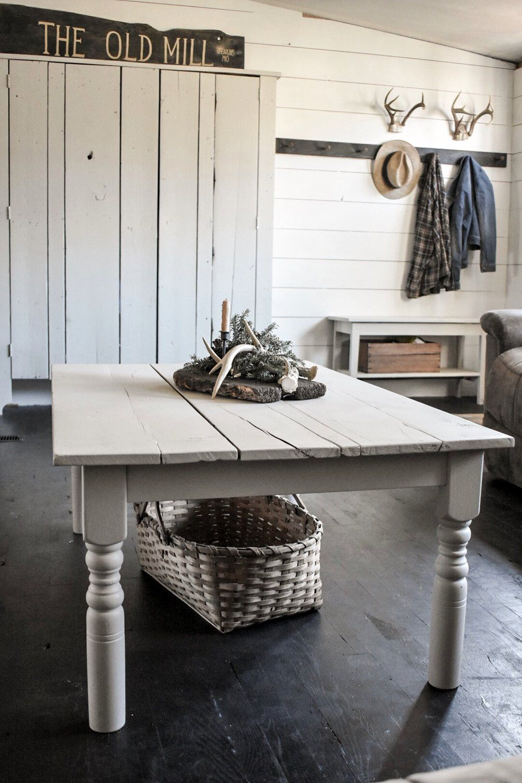 Farmhouse kitchen table turned farmhouse coffee table