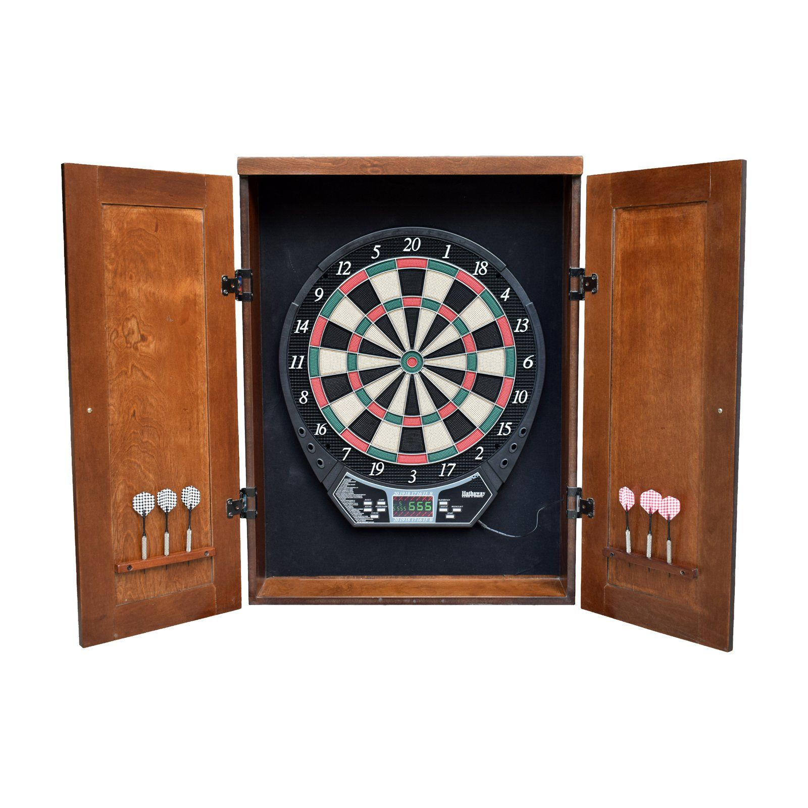 Hathaway Brookline Electronic Dartboard Cabinet Set Dart Board