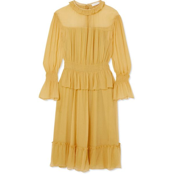 Ruffled Crinkled-silk Dress - Yellow See By Chloé Low Cost Cheap Online i7Tqh