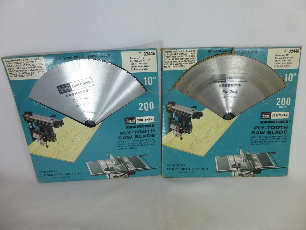 2 Sears Craftsman Kromedge Rip No 9 32446 10 Inch Table Saw Blades Ply Tooth Craftsman Table Saw Blades 10 Inch Table Saw Arbors For Sale
