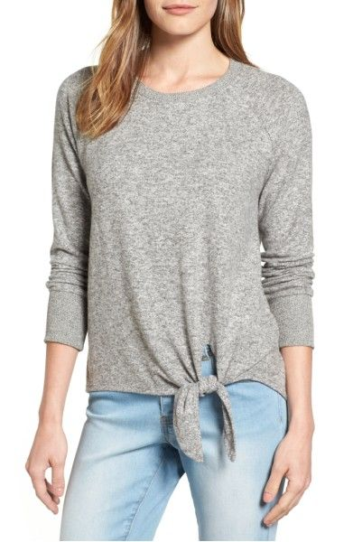 M Grey-Main Image - Gibson Tie Front Cozy Fleece Pullover (Regular & Petite)
