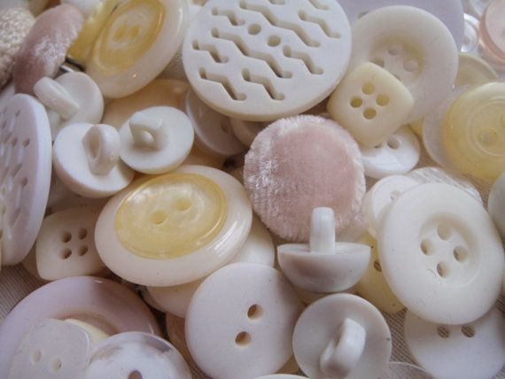 White and Cream Button Mix 5 to 30mm 80 to 100 Buttons by Spasojevich, $5.00