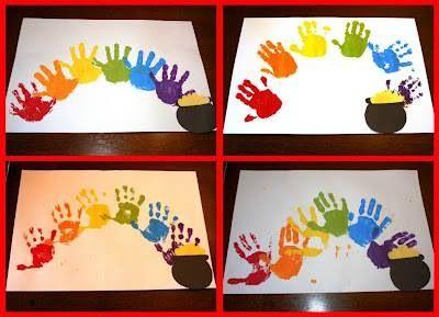 Rainbow hand print, pot of gold! St. Patricks day #nissedrillerier