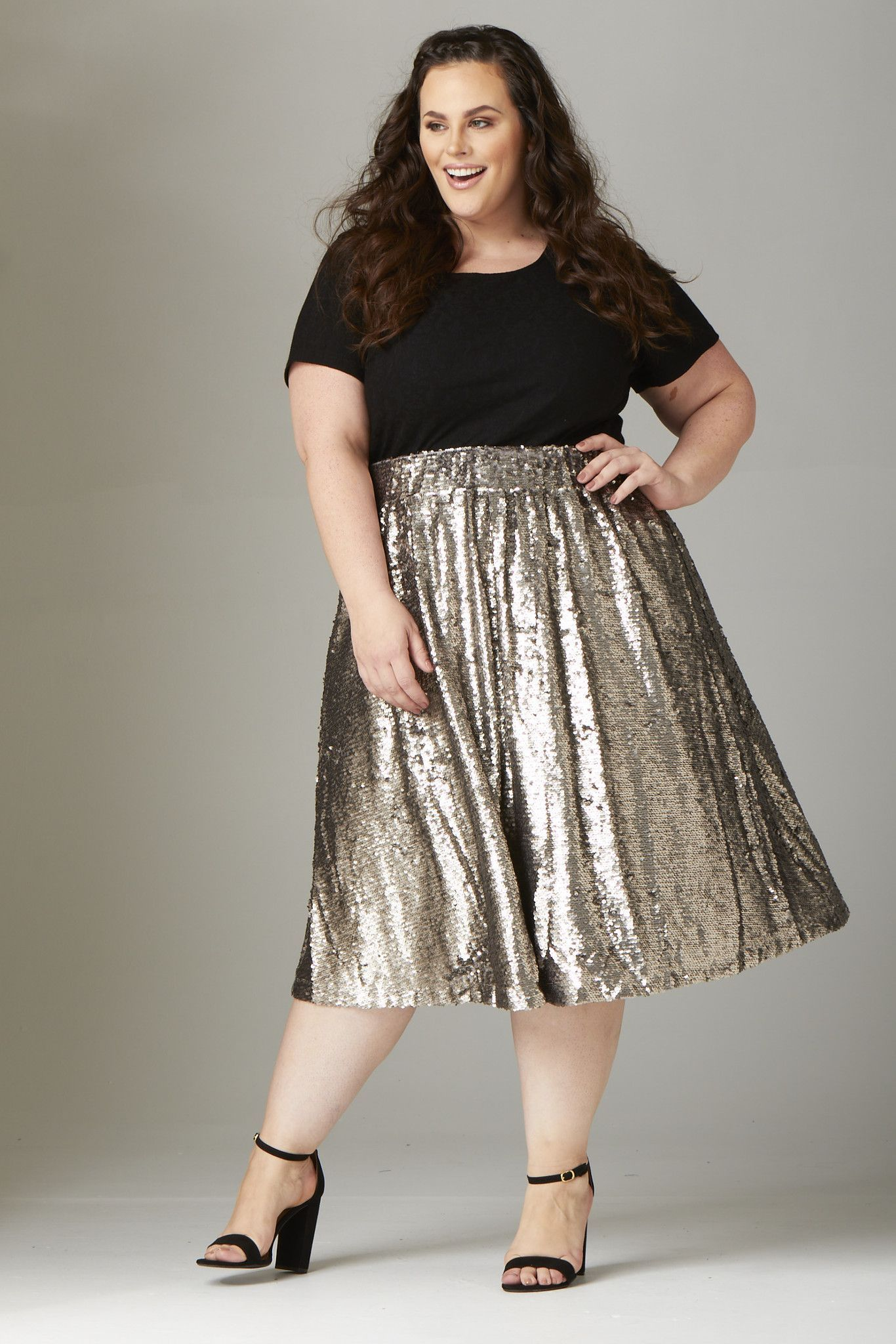 98e8e5f7904 Plus Size Clothing for Women - Mermaiden Sequin Skirt - Silver - Society+ -  Society Plus - Buy Online Now! - 2