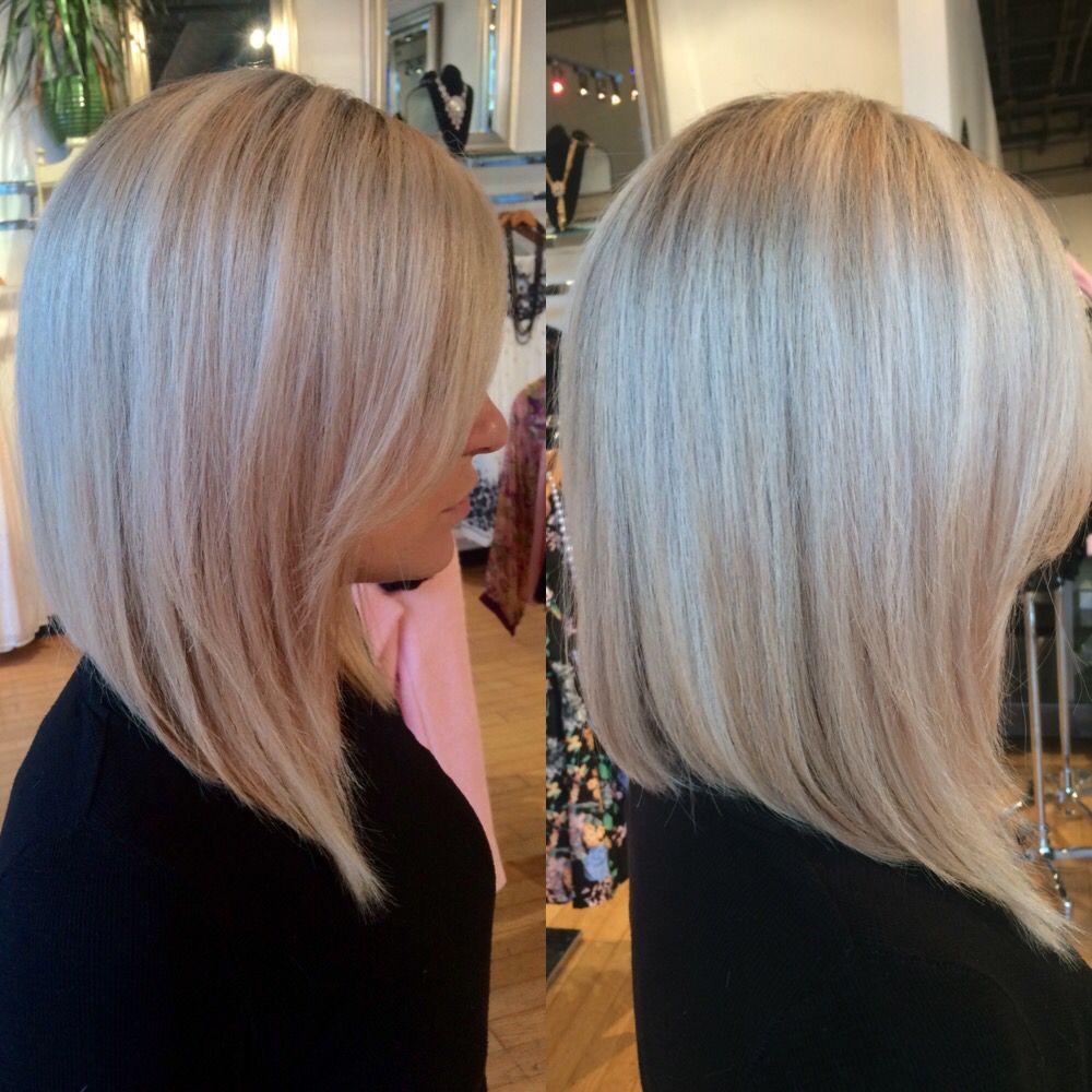 Platinum Blonde Inverted Bob Hair By Michelle Lasko