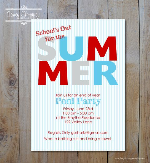 summer pool party invitation pool party end of year party diy