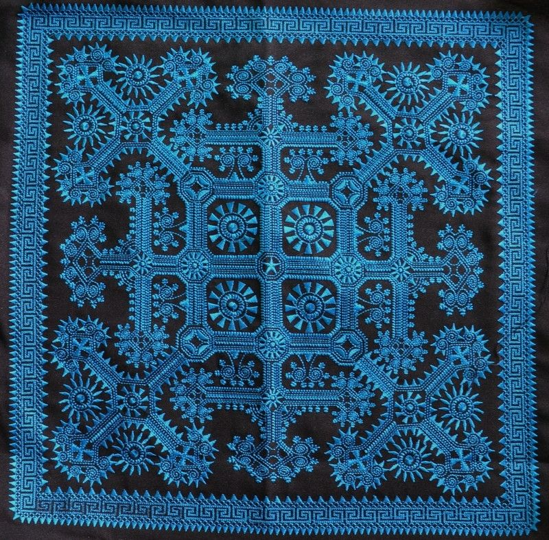 Chinese Miao Hmong (Machine made) Tribal Embroidery Blue