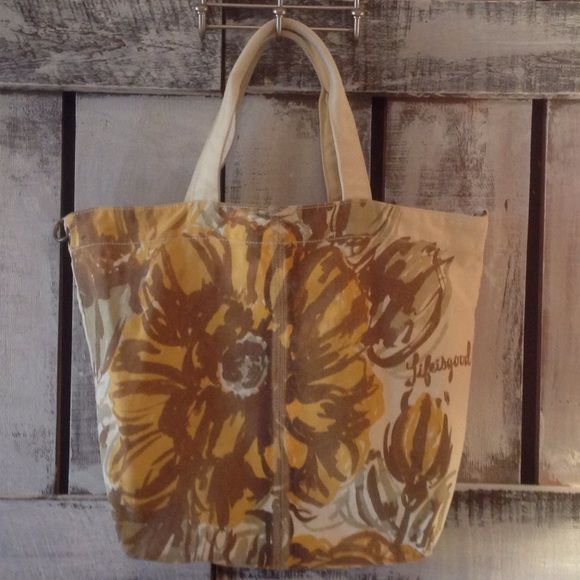 Life Is Good Sunflower Tote 18x21 Excellent condition. A few scuffs but otherwise, solid and beautiful. Interior zippered pocket. Clasp closure. Life is Good Bags Totes