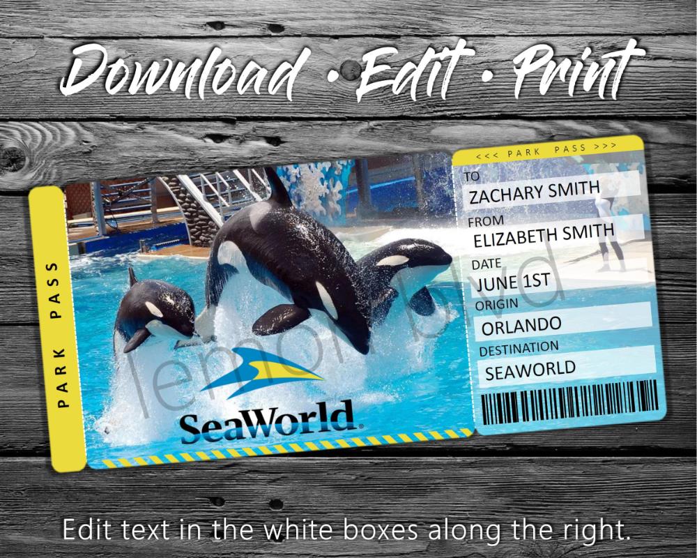 Seaworld Trip Tickets Printable Seaworld Ticket Digital Etsy Surprise Vacation Surprise Trip Reveal Surprise Vacation Reveal