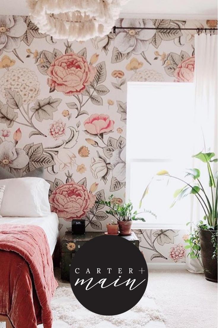 Boho Floral Large Scale Girls Room Wallpaper Girls Bedroom Wallpaper Little Girl Rooms