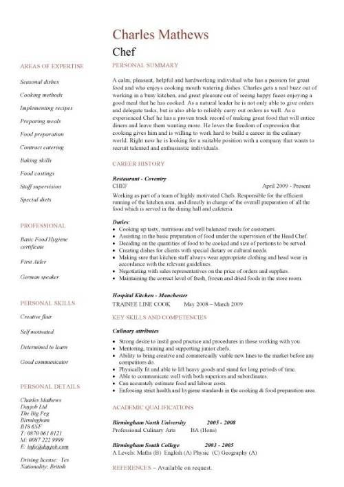 chef resume sample, examples, sous, chef jobs, free, template - food specialist sample resume