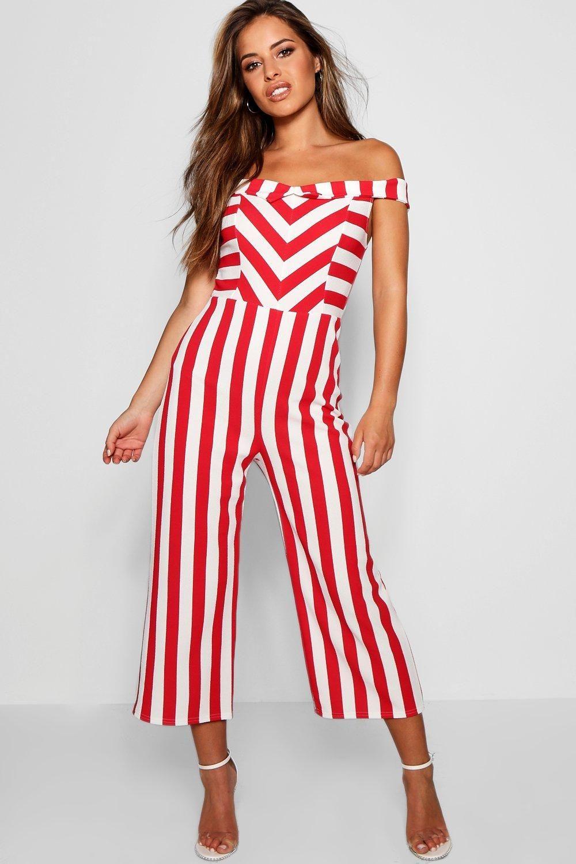 6914ad5ffb8a Petite Bardot Stripe Culotte Jumpsuit