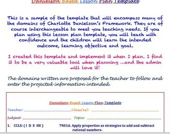Charlotte Danielson Lesson Plan Template: A Sweet Design for the ...