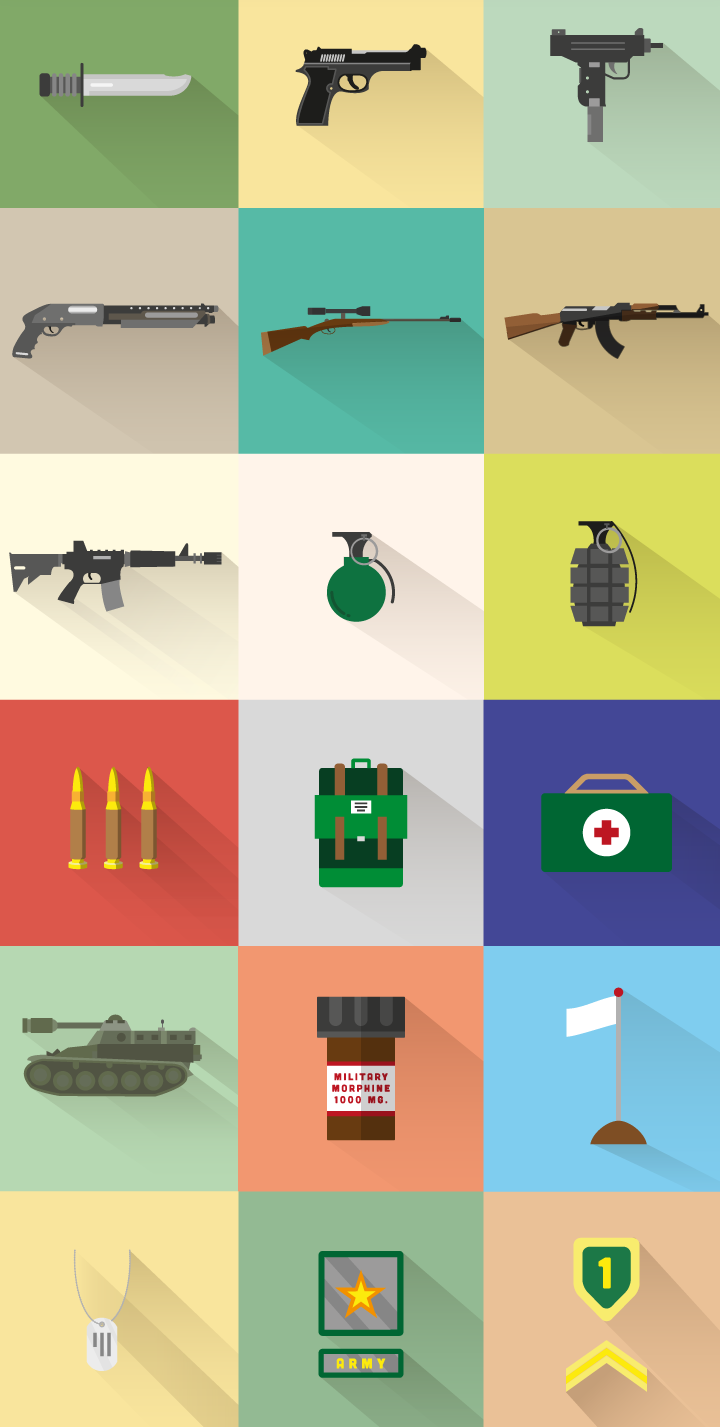 WAR Free Icon Set Icon set, Icon design, Long shadow
