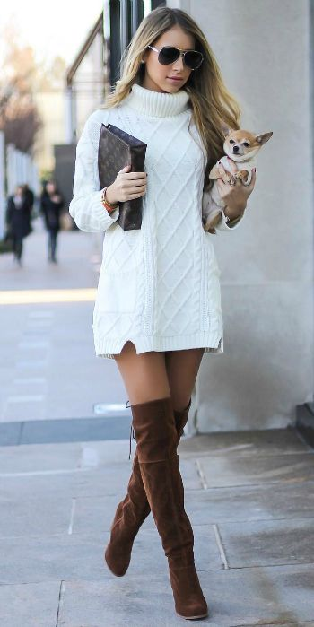 28a1424c5d Mercedes Gonzalez + crocheted whiter sweater dress + thigh high brown suede  boots + pair of retro shades + with or without tights + two weather  appropriate ...
