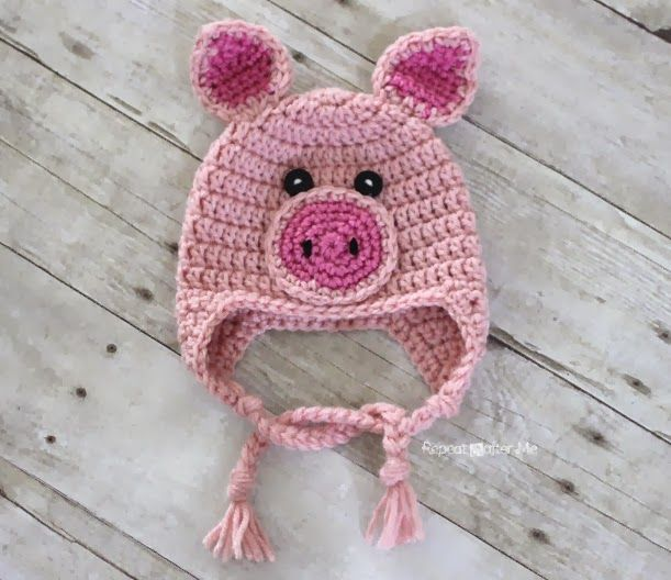 Crochet Pig Hat Pattern (Repeat Crafter Me)  0e8799240db