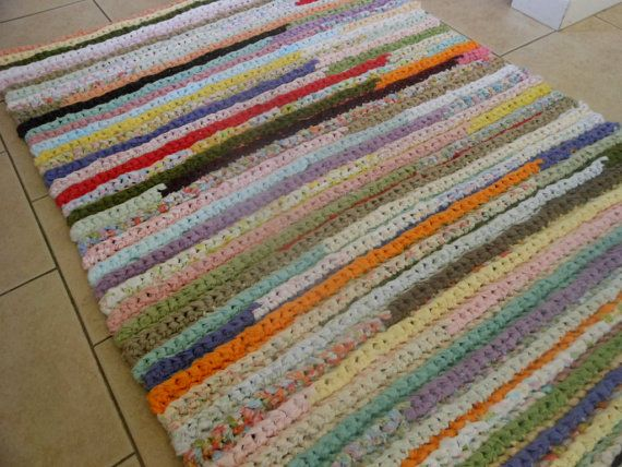 Custom Orders Crochet Rectangle Rag Rug Vintage Sheet By Izzylane Rag Rug Crochet Rag Rug Vintage Sheets