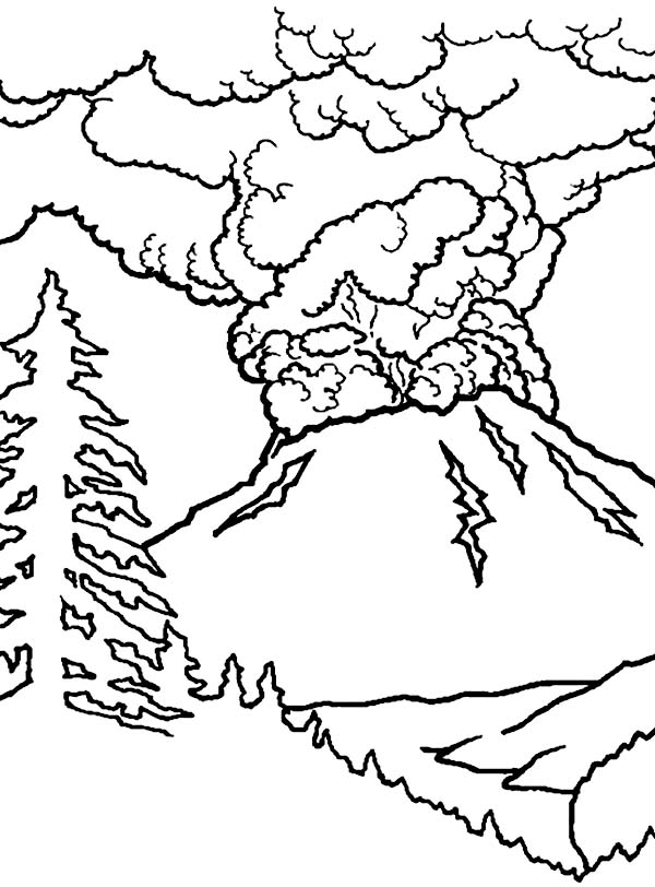 Great Volcano Eruption Coloring Page Netart In 2020 Coloring Pages Dinosaur Coloring Pages Coloring Pages For Kids
