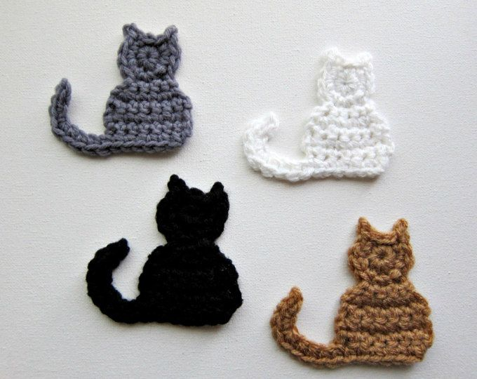 8 Crochet Cat Face Appliques 8 Colors Ea139 Crochet Cats Cat