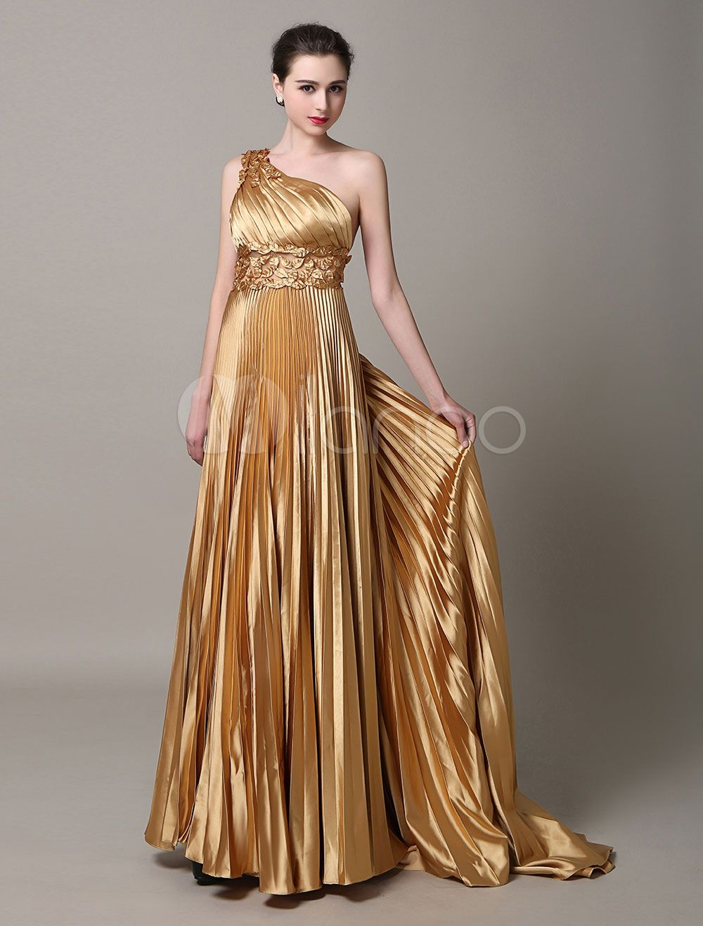74291c1215f27 Gold evening dresses One Shoulder formal gowns pleated Sash Satin ...