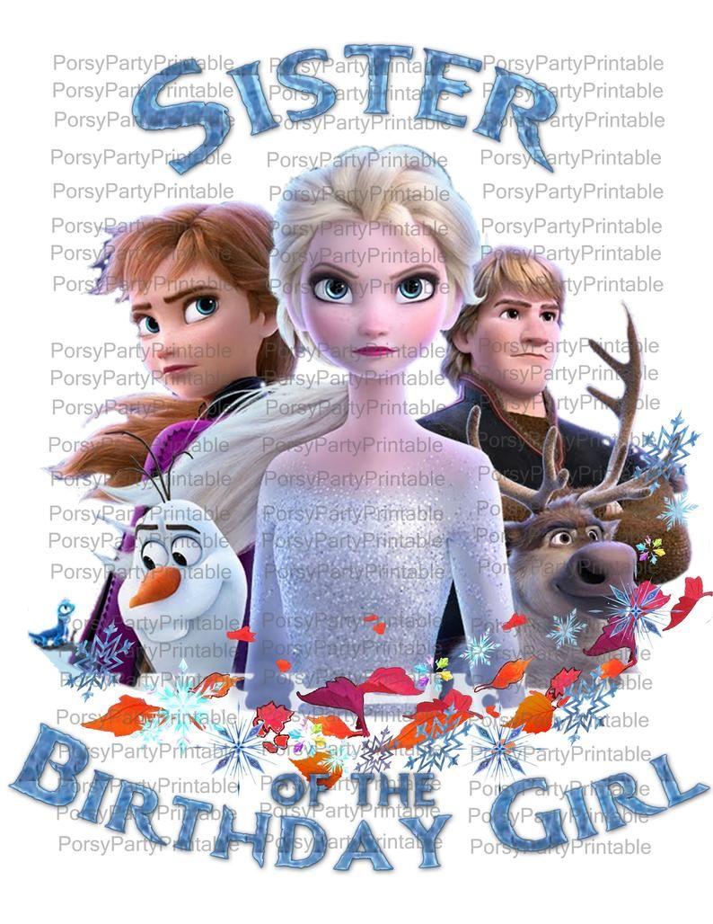 Frozen 2 Birthday Girl Iron on Images, Anna, Elsa, Olaf
