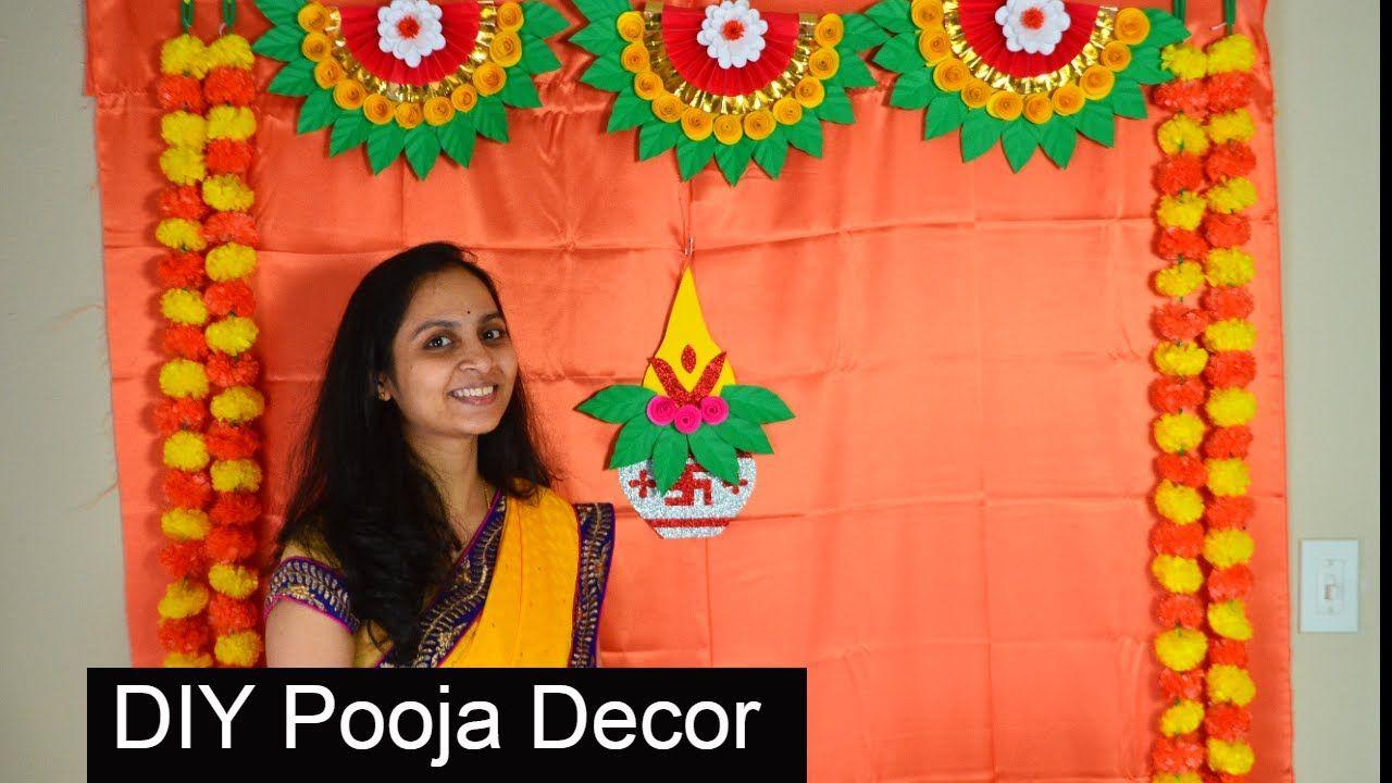 Varalakshmi Pooja Simple Background Decoration 2020 Pooja Background Decoration Ideas Diy Diwali Decorations Background Decoration Flower Decorations