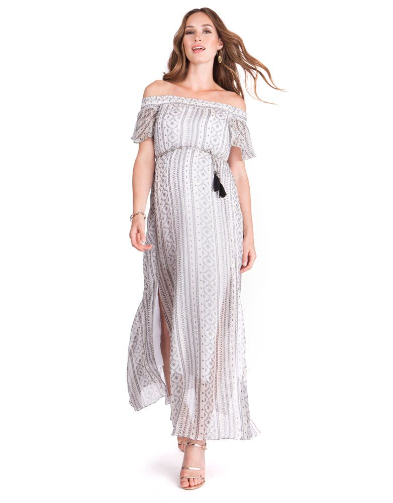 5ee655c5a19 Monochrome Off the Shoulder Maternity Maxi Dress in 2018