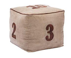 Pouf Arredamento ~ Pouf quadrato in tessuto e cuoio numbers beige cm