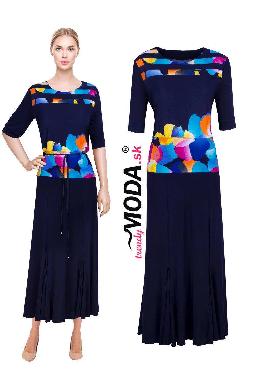 Elegantné dlhé úpletové dámske šaty s efektnou potlačou 3726984fff5