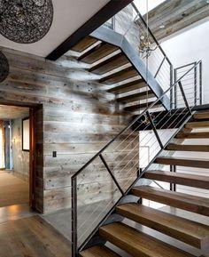 Rustikales Design Treppen Holz Metall Luxus Materialien