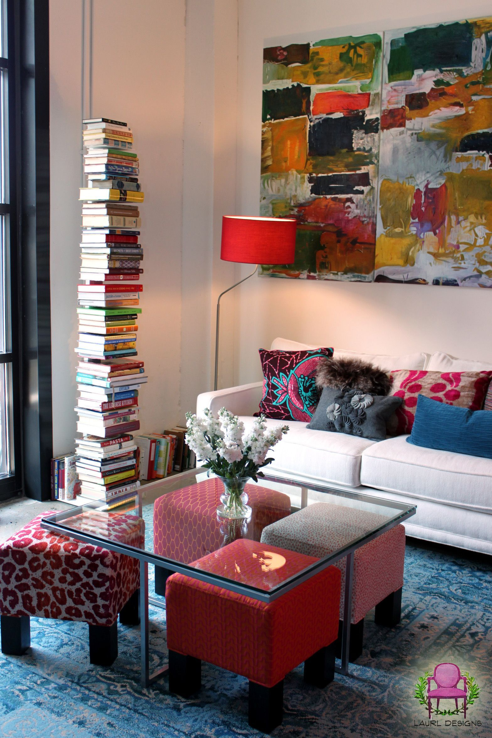 Extra Seating In A Small Living Room Bright Colored Ottomans